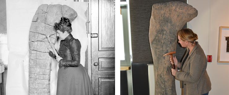 The image of a historic photograph of a faculty member posing with a specimen of a dinosaur fossil, juxtaposed against a modern photo of the same thing.