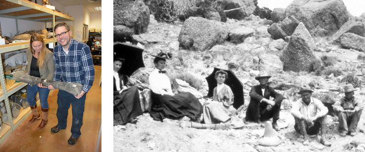 An image of the Geology Museum curator and manager posing with a fossil, juxtaposed next to a historic image that show a group of women and men posing for a photo with the fossil in the late 1800's.